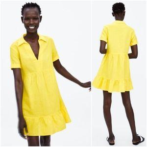 Zara ruffled linen blend collared dress